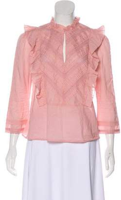 Roche St. Ruffle-Trimmed Lace Long Sleeve Top
