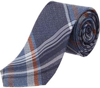 Ben Sherman Navy Plaid Silk Blend Tie
