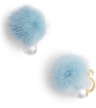 WILD AND WOOLLY Saga Genuine Mink Fur Pom & Imitation Pearl Earrings