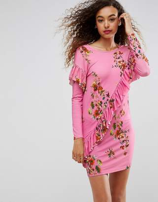 Asos DESIGN Mini T-Shirt Dress With Frill And Low Back In Floral Print