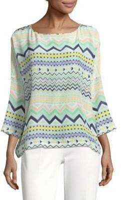 M Missoni Geometric Silk Blouse