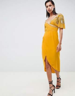 Virgos Lounge julisa embellished wrap midi dress in mustard