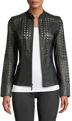 Anatomie Abigail Perforated Lamb Leather Motorcycle Jacket