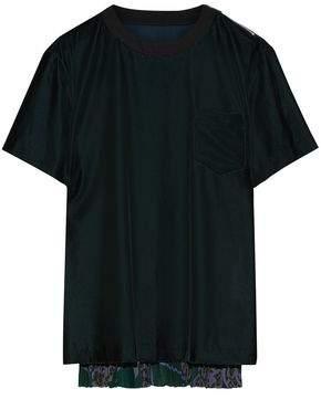 Sacai Pleated Printed Satin-Paneled Cotton-Velvet T-Shirt