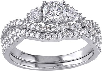 Affinity Diamond Jewelry 3-stone Round Diamond Ring Set, 14K, 1.10 cttw,by Affinity