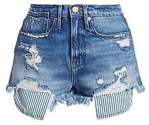 Frame Women's Le Stevie Distressed Pocket-Bag Shorts