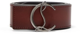 Christian Louboutin Reversible Logo Buckle Leather Belt - Mens - Brown