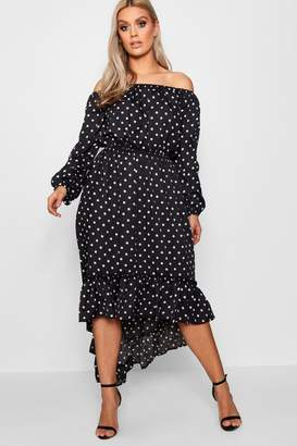 boohoo Plus Spotty Ruffle Off Shoulder Maxi Dress
