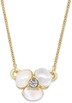 Kate Spade Gold-Tone Pavé & Mother-of-Pearl Flower Pendant Necklace