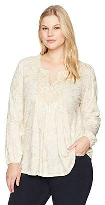 Lucky Brand Women's Printed Embroidered Plus-Size Top