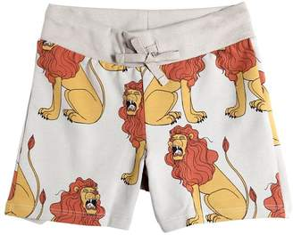 Mini Rodini Lions Print Organic Cotton Sweat Shorts