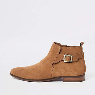 River Island Tan suede buckle chelsea boots