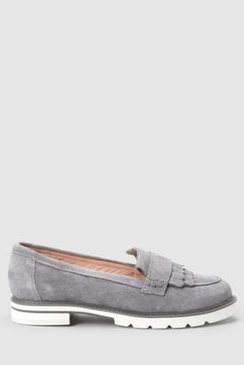 3a722d70cf2 Next Womens Grey Suede Forever Comfort Fringe Leather Loafers