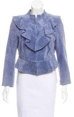 Intermix Ruffle-Accented Suede Jacket