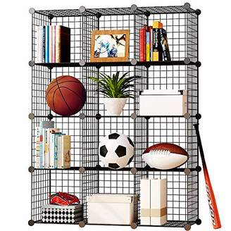 KOUSI Cube Storage Wire Storage Cube Storage Cubes Wire Grid Modular Metal Cubbies Organizer Bookcases and Book Shelves Origami Multifunction Shelving Unit