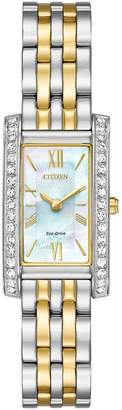 Citizen Eco-Drive Mother-of-Pearl Dial Swarovski® Crystal Two Tone Bracelet Ladies Watch