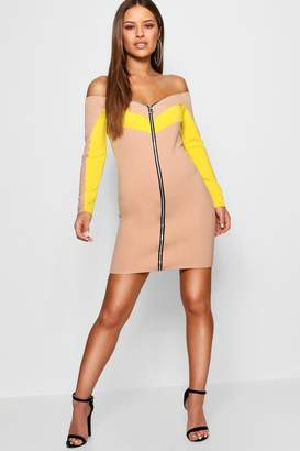boohoo Petite Zip Detail Bardot Bodycon Dress