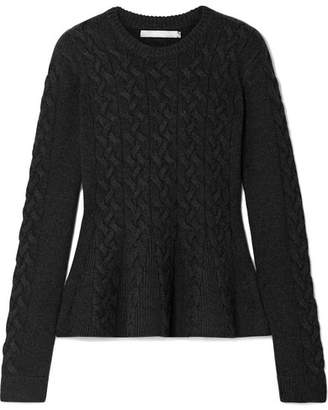 Jason Wu Cable-knit Wool-blend Peplum Sweater - Charcoal