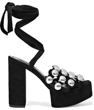 Alexander Wang - Alys Embellished Suede Platform Sandals - Black $750 thestylecure.com