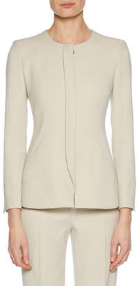 Giorgio Armani Collarless Snap-Closure Cady Jacket