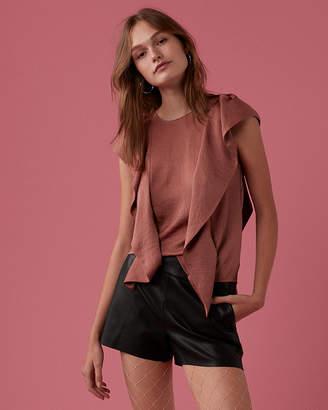 Express Satin Ruffle Short Sleeve Blouse