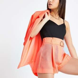 River Island Womens Petite Orange belted shorts