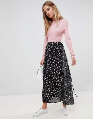 Liquorish mix and match floral and polka dot wrap skirt