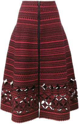 Fendi Lazer Cut Flared A-Line Skirt