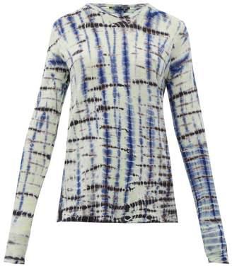 Proenza Schouler Tie Dye Long Sleeve Cotton Jersey T Shirt - Womens - Blue Multi