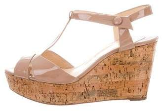 Christian Louboutin Patent Leather Cork Wedges