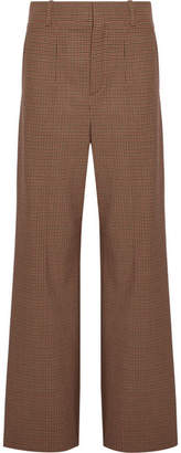 Chloé Checked Stretch-cady Wide-leg Pants - Tan