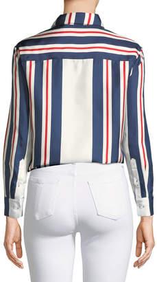 Double J Button-Down Long-Sleeve Printed Silk Boy Shirt