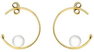 Sweet Pea Small Pearl Inside Hoop Earrings - Yellow Gold