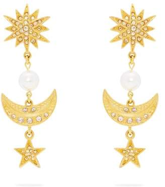 Oscar de la Renta Moon And Stars Drop Clip On Earrings - Womens - Gold