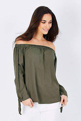 Only NEW Womens Blouses Arizona Off The Shoulder Top Khaki