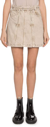 Proenza Schouler Pswl Belted Denim Short Skirt with Zippers