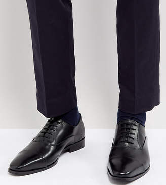 Dune Wide Fit Toe Cap Derby Shoes In Black Leather