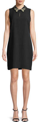 Karl Lagerfeld PARIS Faux Pearl-Trimmed Sleeveless Dress