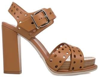 Tod's Light Caramel Leather Heeled Sandal