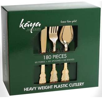 Kaya Collection - Plastic Silverware Set - Gold Cutlery - Disposable Flatware, 60 Forks, 60 Knives and 60 Spoons Baroque Design (180 Pieces