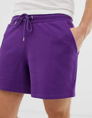 Asos Design DESIGN jersey relaxed shorts in shorter length in purple