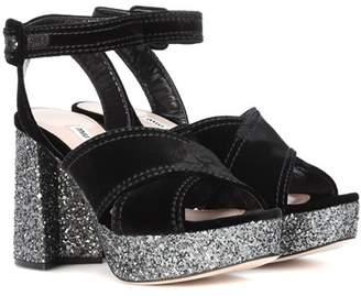 Miu Miu Velvet and glitter platform sandals