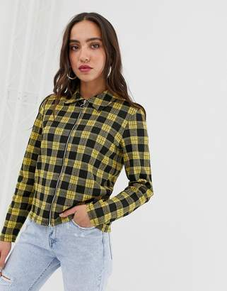 Pieces tartan zip through lightweight jacket