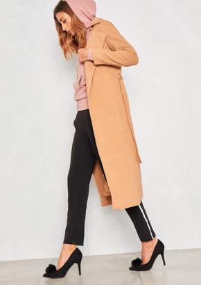 Missy Empire Missyempire Camel Long Sleeve Belted Longline Wool Coat