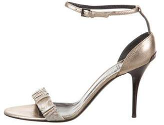 Burberry Metallic Leather Ankle-Strap Sandals