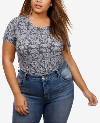 Lucky Brand Trendy Plus Size Burnout T-Shirt