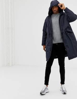 Asos Design DESIGN parka jacket with dropped hem with hood in navy