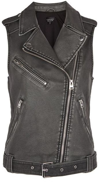 Topshop Topshop Sleeveless faux leather biker jacket
