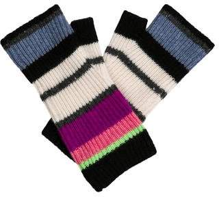 White + Warren Striped Knit Gloves
