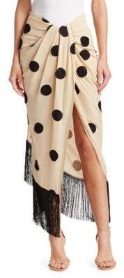 Jacquemus Pareo Wrap-Front Polka Dot Skirt